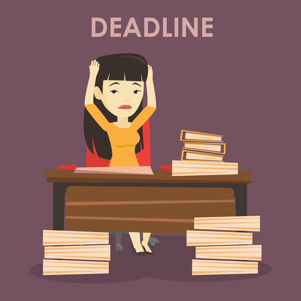 Asian business woman having problem with deadline. Stressed business woman sitting at workplace and clutching her head because of missed deadline. Vector flat design illustration. Square layout.