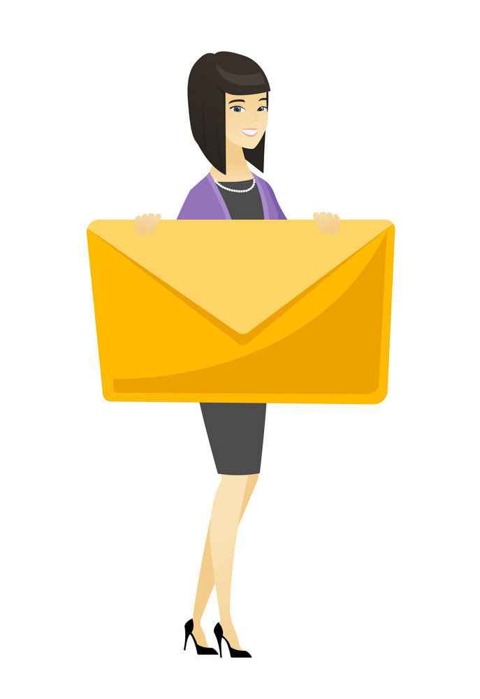 Asian business woman holding a big envelope. Full length of business woman holding big envelope. Cheerful business woman with big envelope. Vector flat design illustration isolated on white background