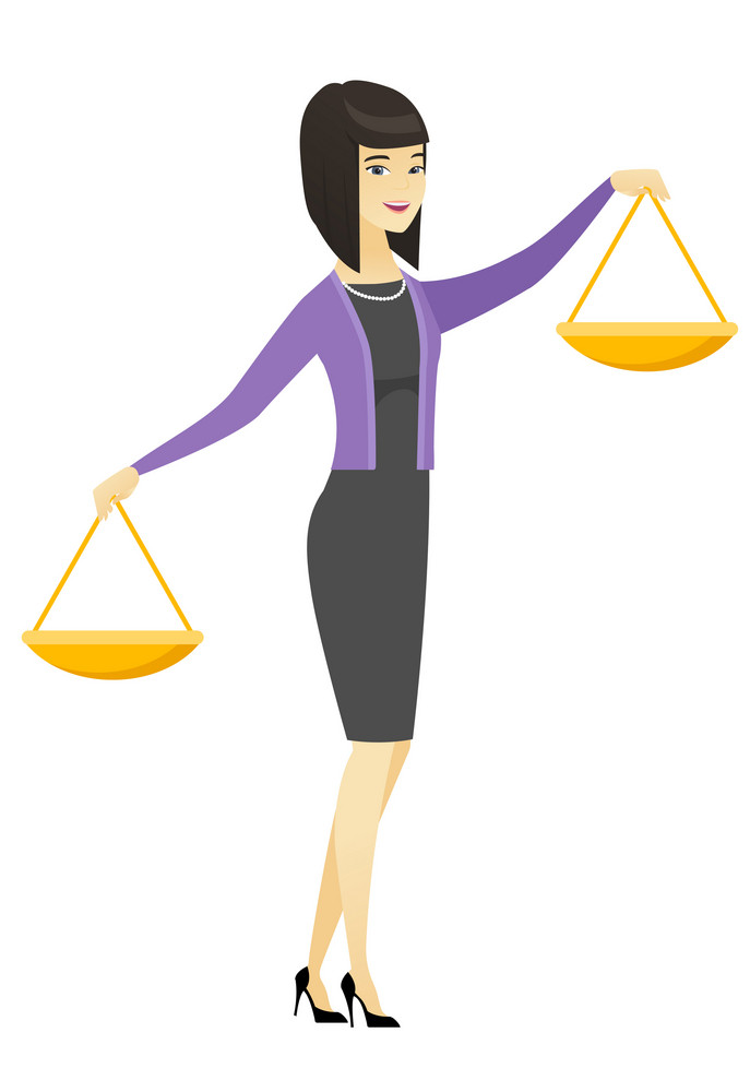 Asian business woman holding balance scale. Young business woman with a balance scale in hands trying to make a right decision in business. Vector flat design illustration isolated on white background