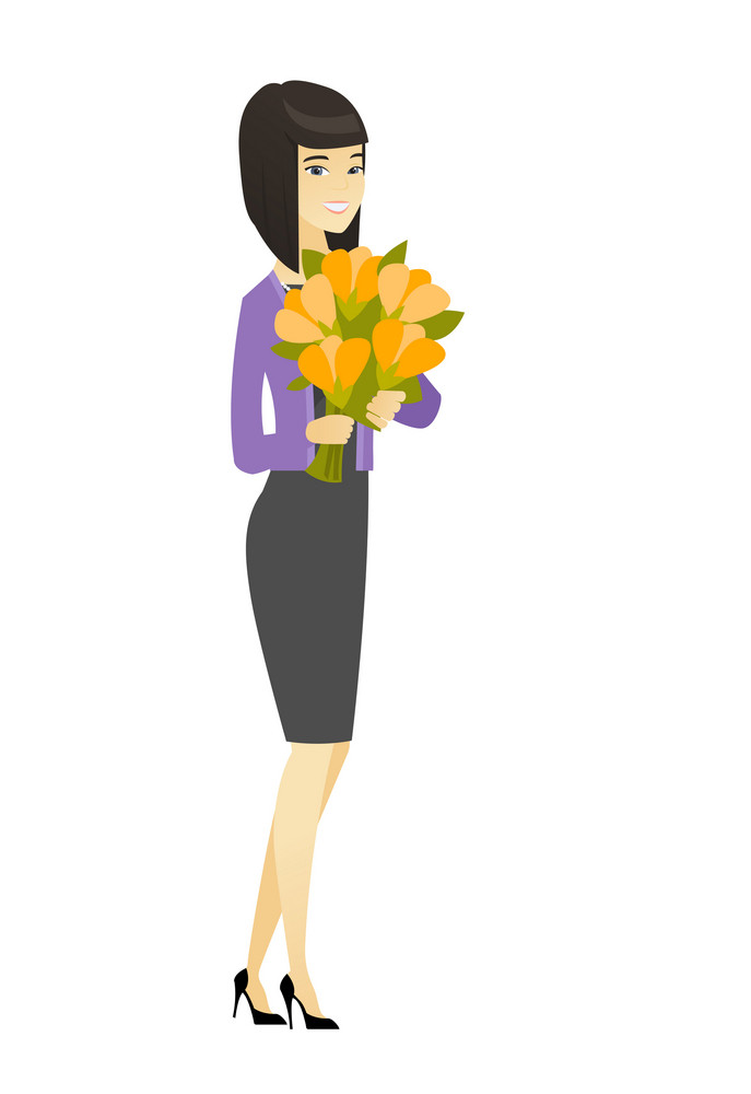 Asian business woman holding bouquet of flowers. Full length of business woman with bouquet of flowers. Happy business woman with flowers. Vector flat design illustration isolated on white background.