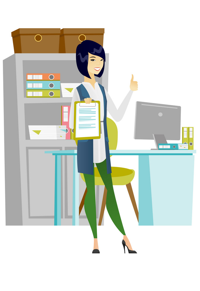Asian business woman holding clipboard and giving thumb up. Full length of business woman with clipboard. Business woman showing clipboard. Vector flat design illustration isolated on white background