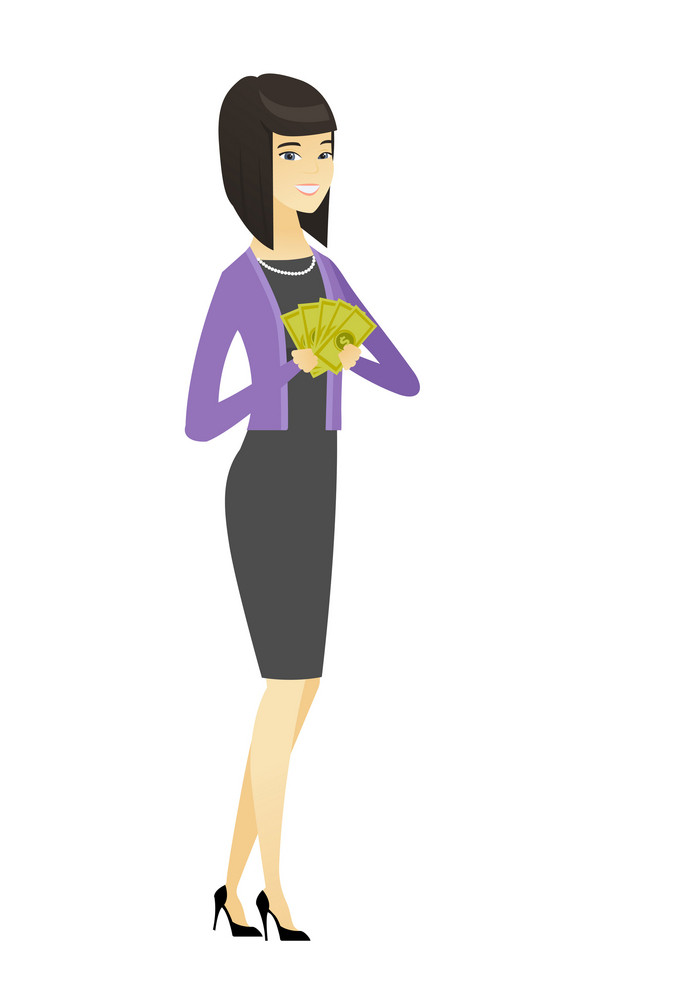 Asian business woman holding money. Excited business woman standing with money in hands. Full length of young business woman with money. Vector flat design illustration isolated on white background.