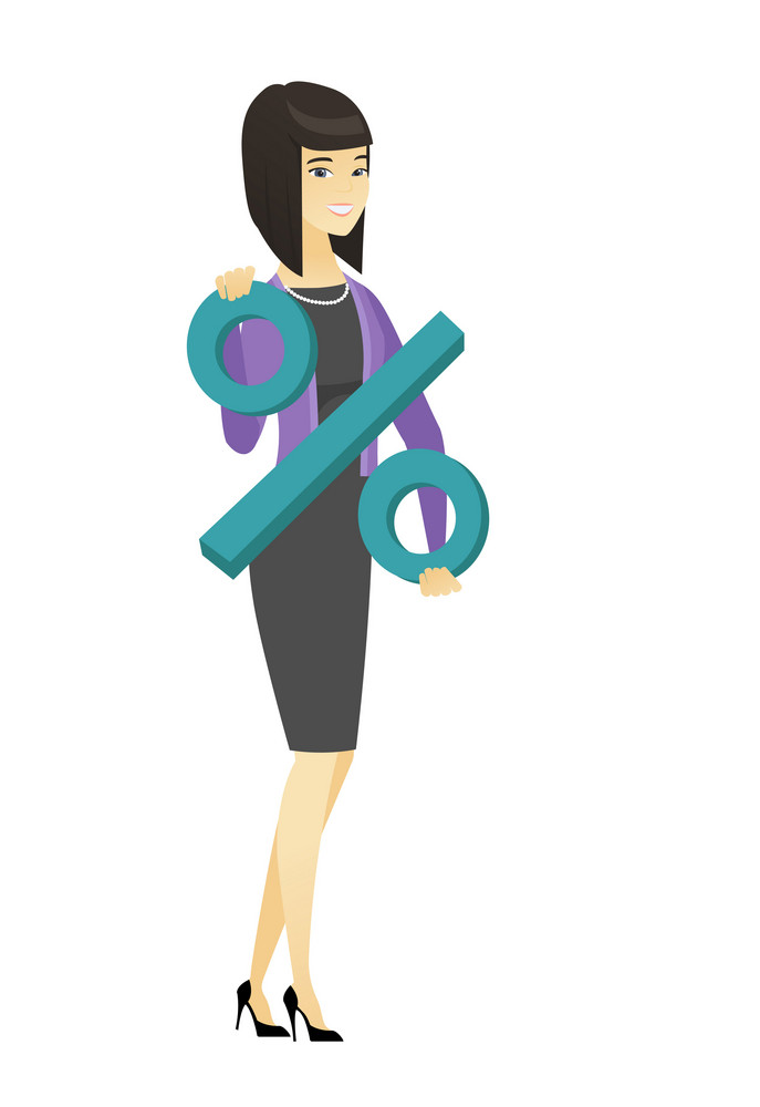 Asian business woman holding percent sign. Full length of business woman holding percent sign. Cheerful business woman with percent sign. Vector flat design illustration isolated on white background.
