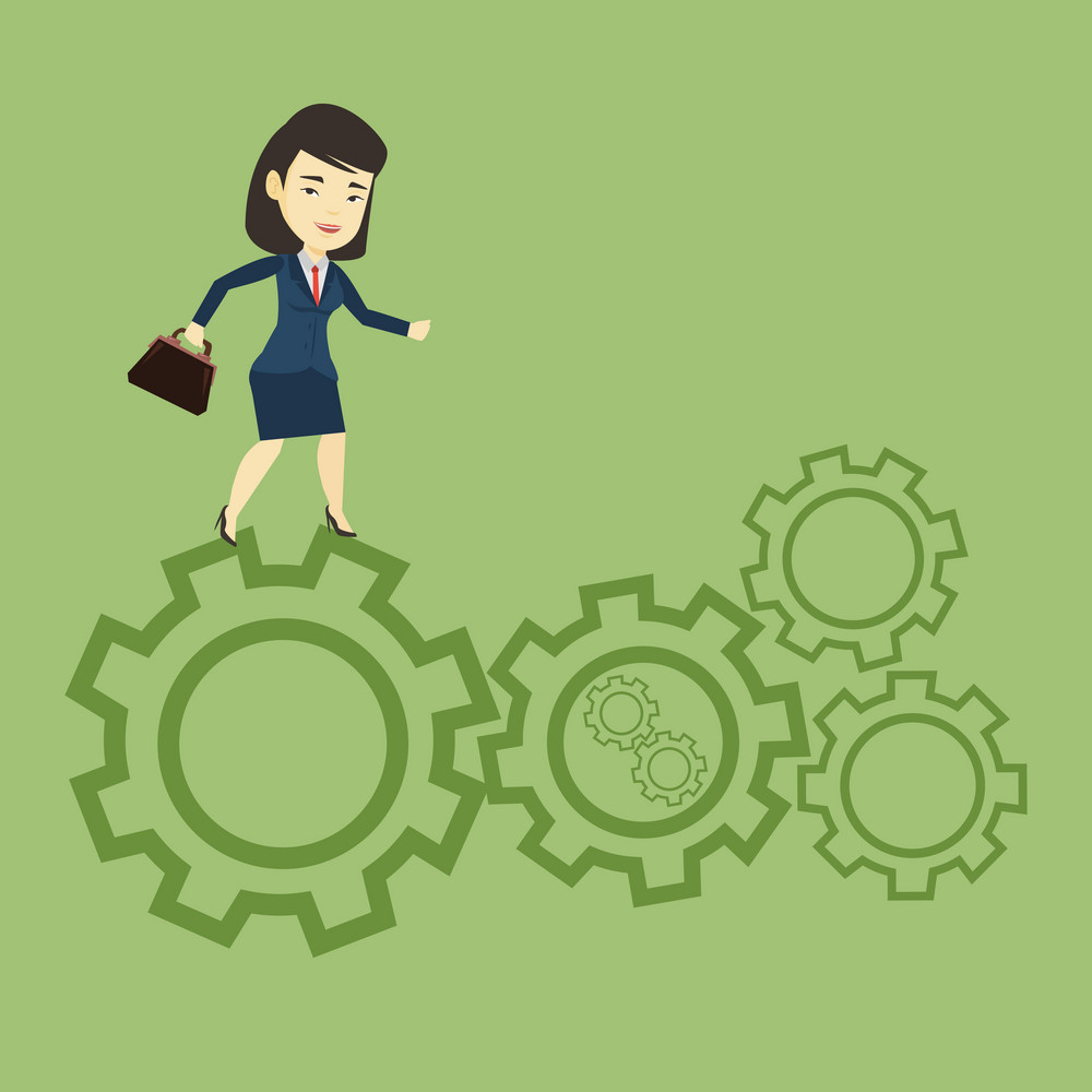 Asian business woman in suit running on cogwheels. Business woman running to success. Business woman running in a hurry. Concept of moving to success. Vector flat design illustration. Square layout.