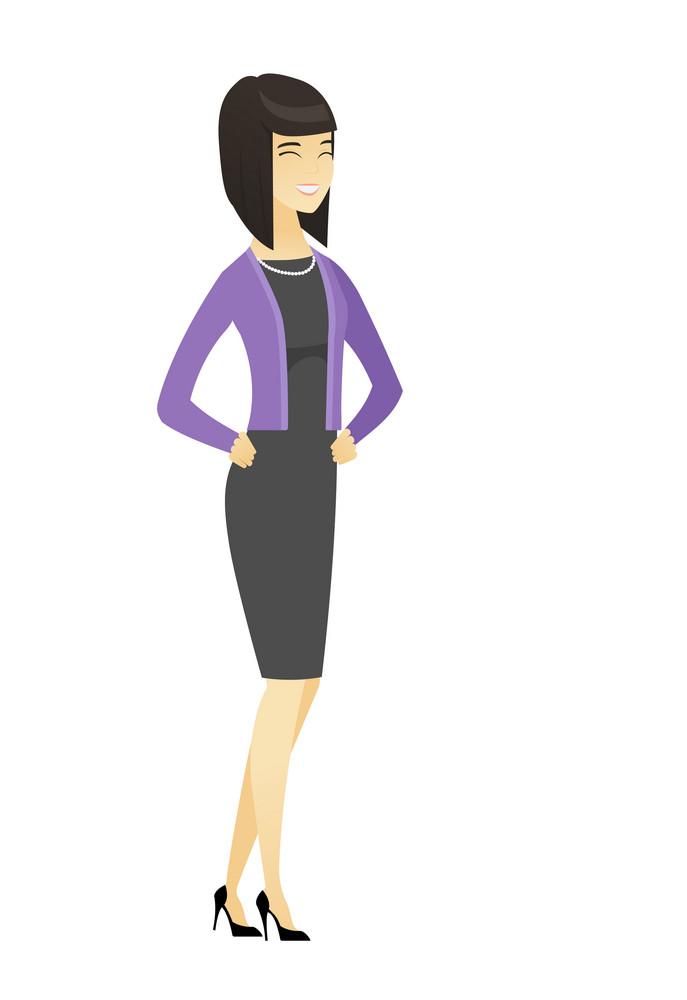 Asian business woman laughing. Full length of bsiness woman laughing with hands on her stomach. Business woman laughing with closed eyes. Vector flat design illustration isolated on white background.