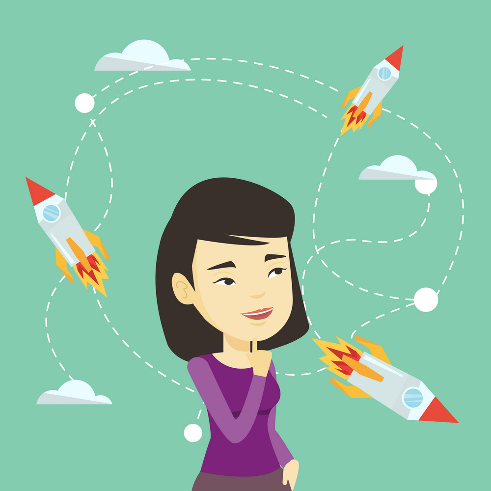 Asian business woman looking at flying start up rockets. Young businesswoman came up with an idea for a business start up. Business start up concept. Vector flat design illustration. Square layout.