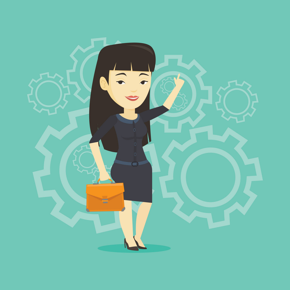 Asian business woman pointing finger up because she came up with business idea. Businesswoman having business idea. Successful business idea concept. Vector flat design illustration. Square layout.