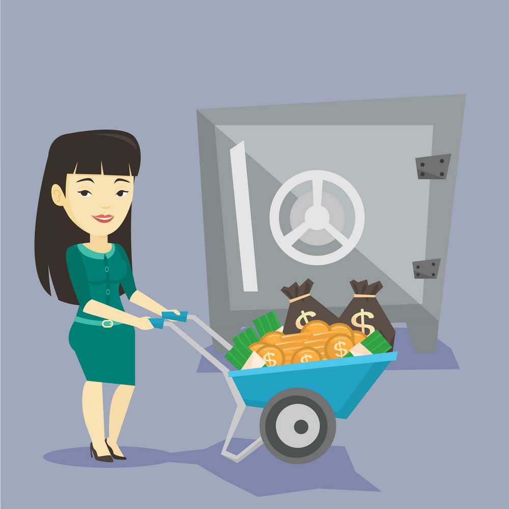 Asian business woman pushing wheelbarrow full of money on the background of big bank safe. Rich business woman depositing her money in bank in the safe. Vector flat design illustration. Square layout.