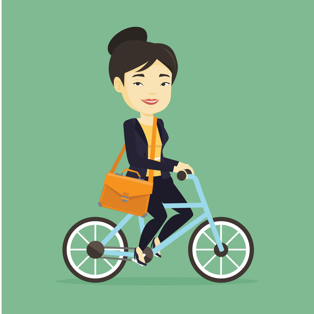 Asian business woman riding a bicycle. Woman in business suit riding a bicycle. Business woman riding to work on a bicycle. Healthy lifestyle concept. Vector flat design illustration. Square layout.