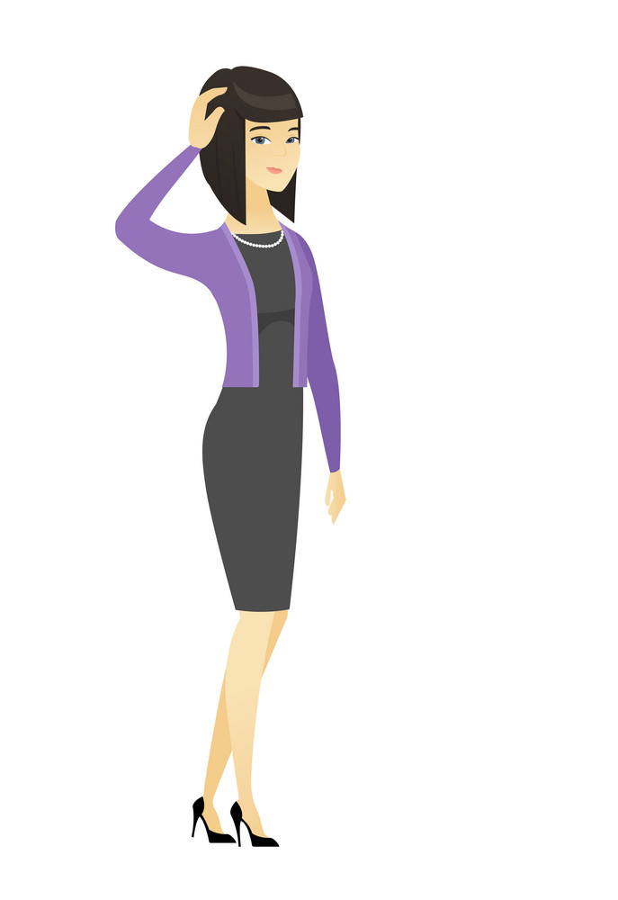 Asian business woman scratching head. Full length of thoughtful business woman scratching head. Puzzled business woman scratching head. Vector flat design illustration isolated on white background
