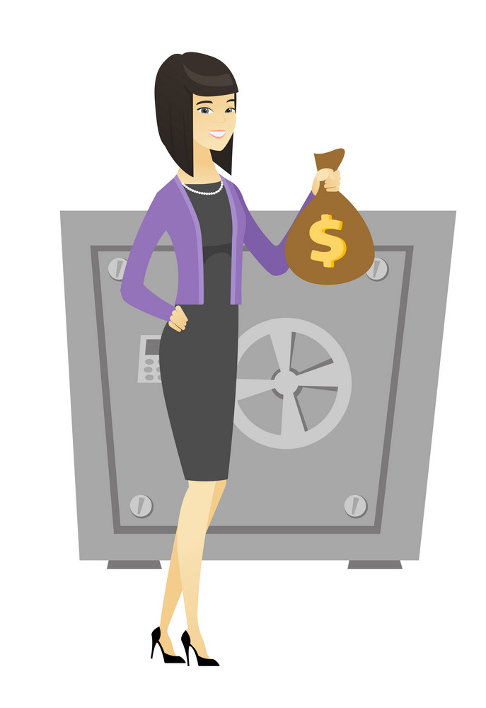 Asian business woman showing money bag on the background of safe. Young business woman with money bag. Business woman holding money bag. Vector flat design illustration isolated on white background.
