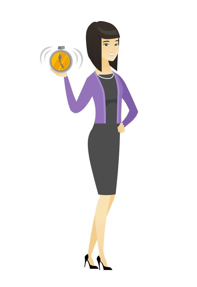 Asian business woman showing ringing alarm clock. Full length of business woman with alarm clock. Business woman holding alarm clock. Vector flat design illustration isolated on white background.