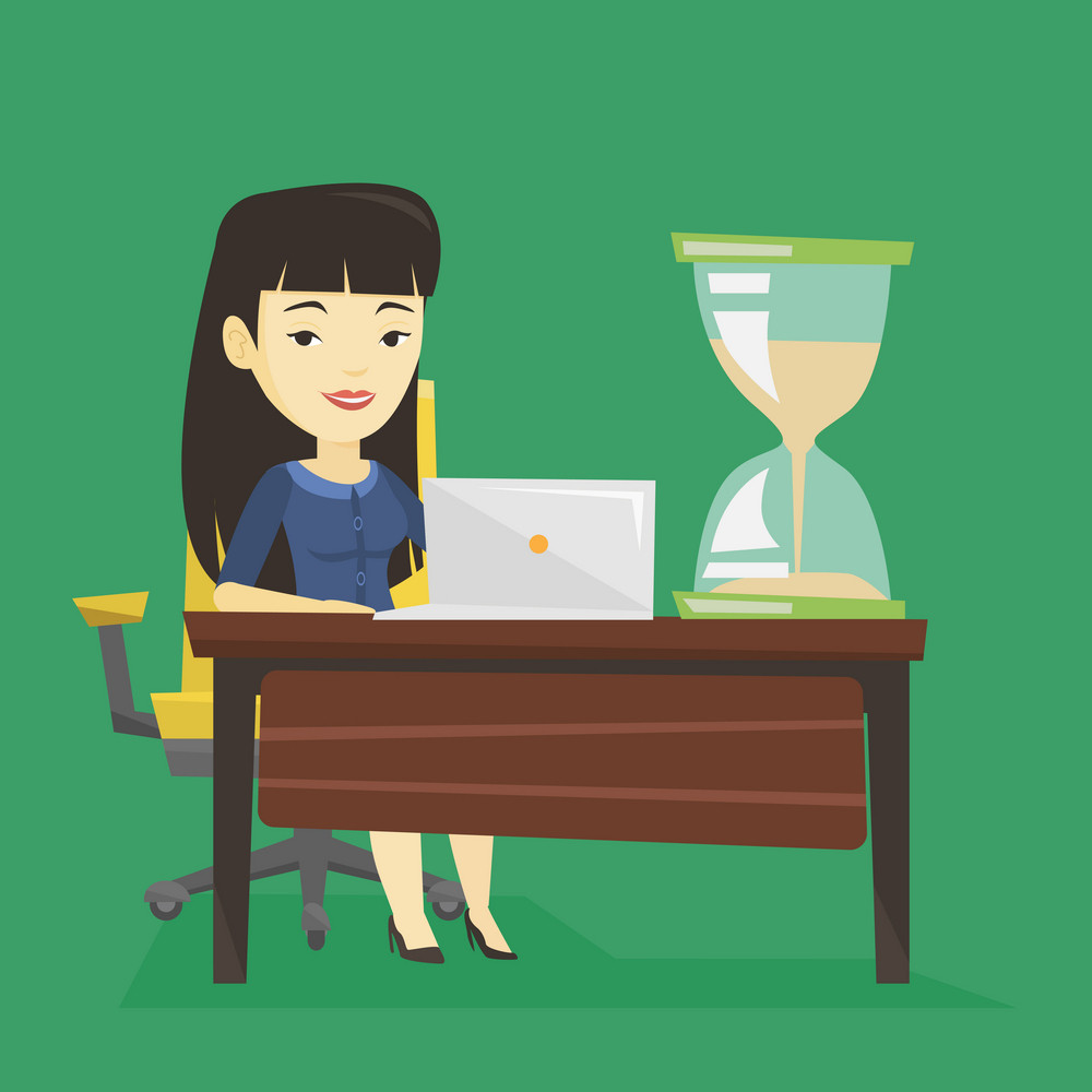 Asian business woman sitting at the table with hourglass symbolizing deadline. Happy business woman coping with deadline successfully. Deadline concept. Vector flat design illustration. Square layout.