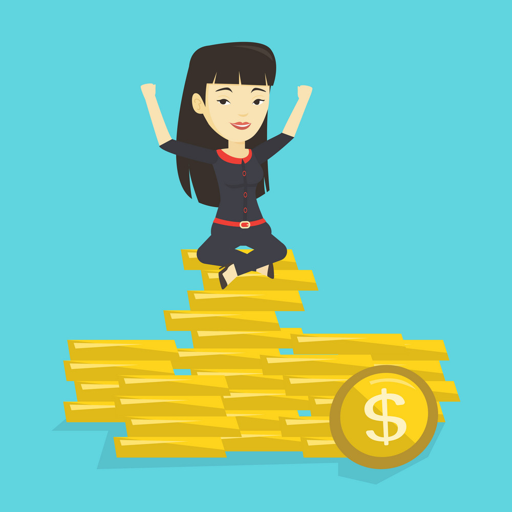 Asian business woman sitting on stack of golden coins. Happy business woman sitting on a pile of golden coins. Successful business woman on gold coins. Vector flat design illustration. Square layout.
