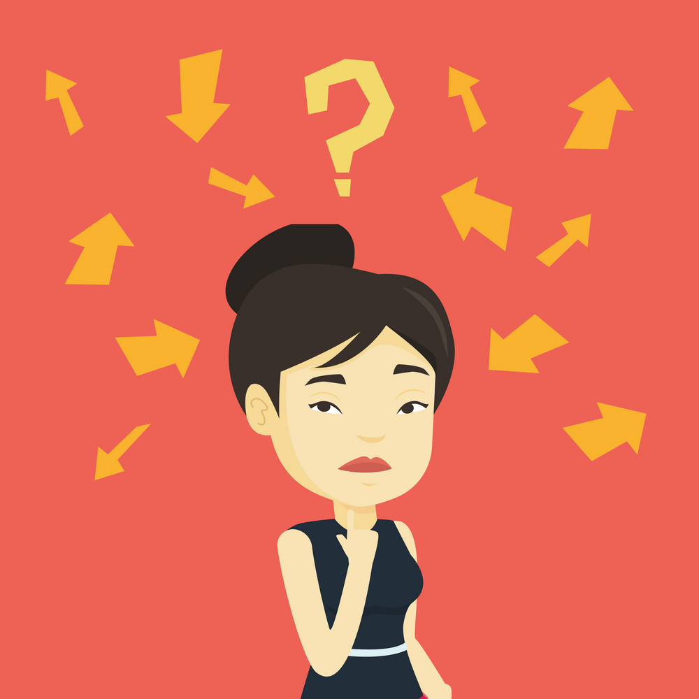 Asian business woman standing under question mark and arrows. Business woman thinking. Thoughtful business woman surrounded by question mark and arrows. Vector flat design illustration. Square layout.