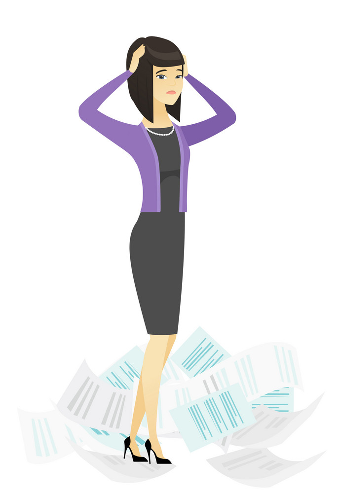 Asian business woman surrounded by lots of papers. Business woman having a lot of paperwork. Business woman standing in the heap of papers. Vector flat design illustration isolated on white background