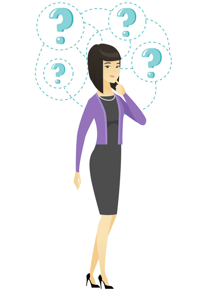 Asian business woman thinking. Thinking business woman standing under question marks. Thinking business woman surrounded by question marks. Vector flat design illustration isolated on white background