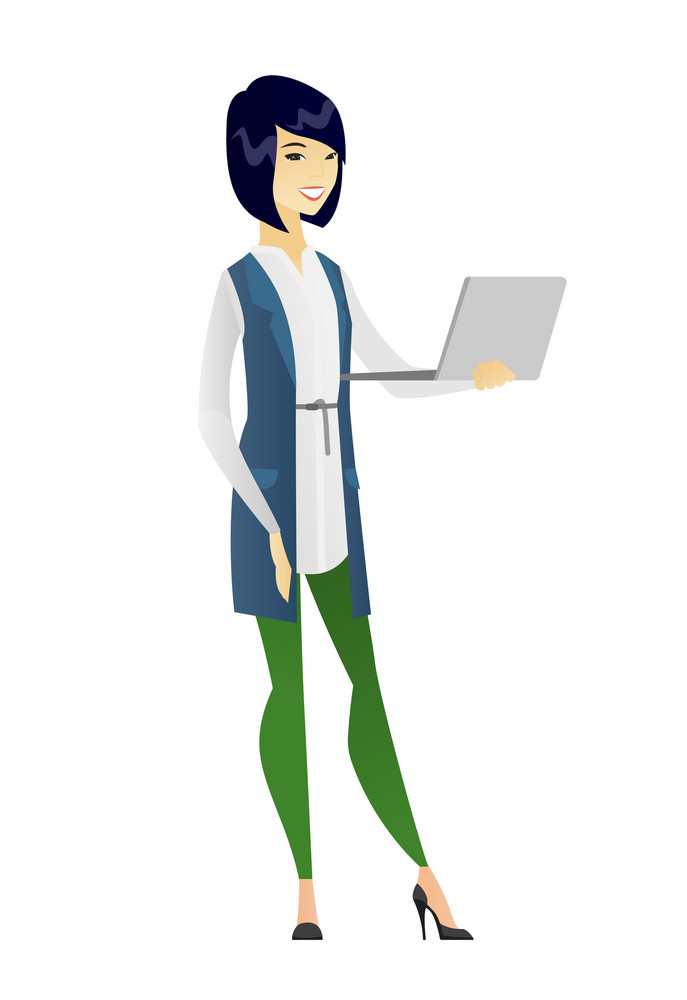 Asian business woman using laptop. Full length of young smiling business woman working on laptop. Cheerful business woman holding laptop. Vector flat design illustration isolated on white background.