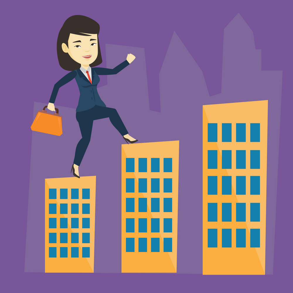 Asian business woman walking on the roofs of city buildings. Business woman walking on the roofs of skyscrapers. Business woman walking to the success. Vector flat design illustration. Square layout.