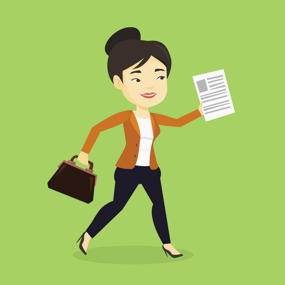 Asian business woman with briefcase and a document running. Young happy business woman running in a hurry. Cheerful business woman running to success. Vector flat design illustration. Square layout.