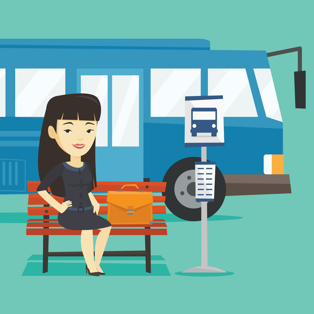 Asian business woman with briefcase waiting at the bus stop. Young business woman sitting at the bus stop. Business woman sitting on a bus stop bench. Vector flat design illustration. Square layout.