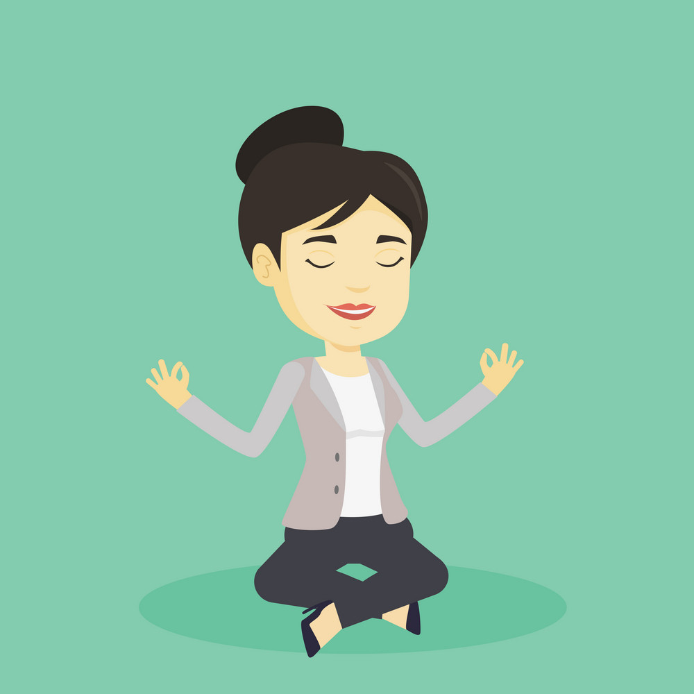 Asian business woman with eyes closed meditating in yoga lotus position. Young business woman relaxing in the yoga lotus pose. Business woman doing yoga. Vector flat design illustration. Square layout