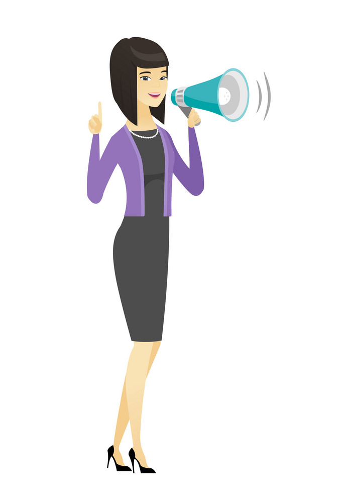 Asian business woman with loudspeaker making an announcement. Full length of business woman making an announcement through a loudspeaker. Vector flat design illustration isolated on white background.