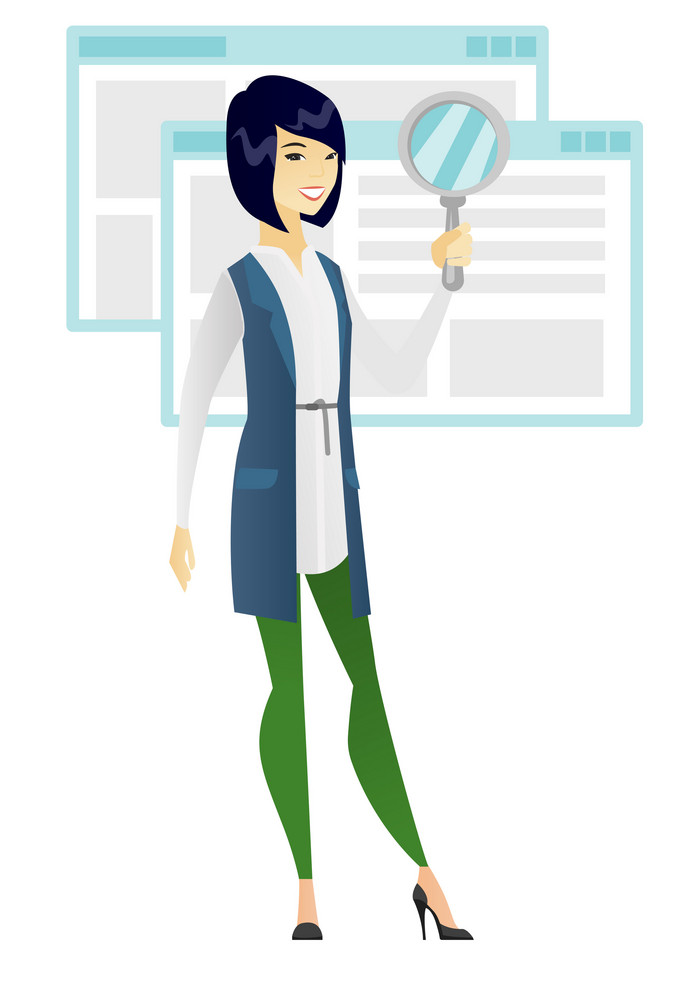Asian business woman with magnifying glass. Full length of young business woman holding magnifying glass on the background of web page. Vector flat design illustration isolated on white background.