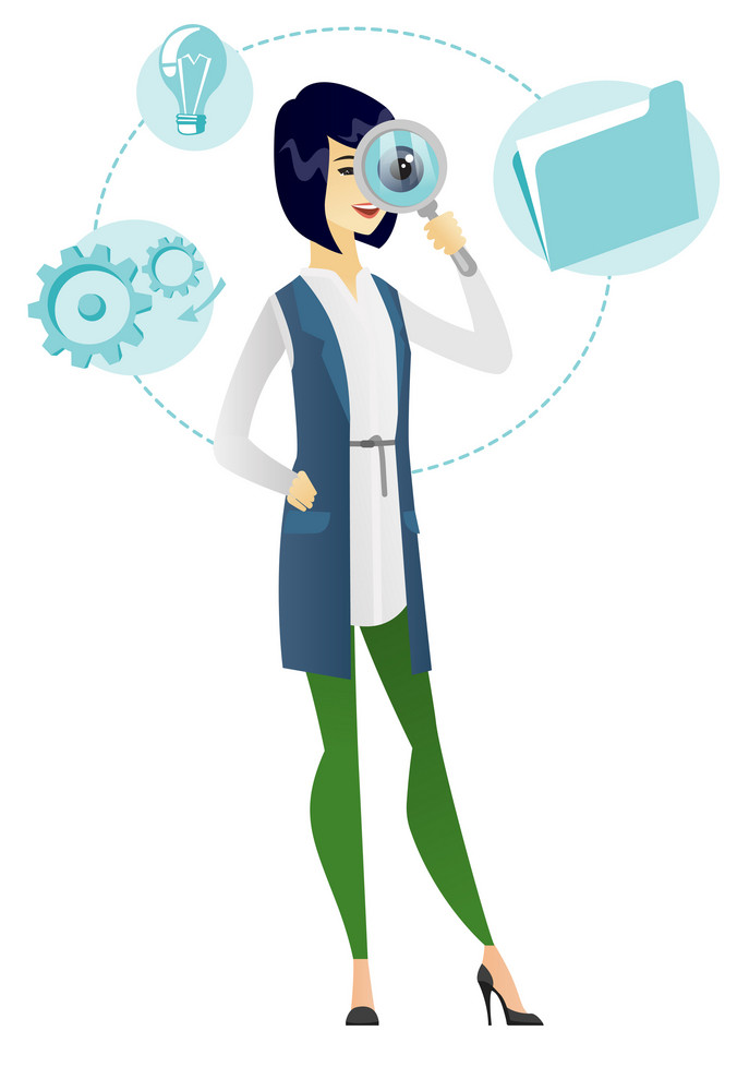 Asian business woman with magnifying glass. Young business woman with magnifying glass. Business woman looking through a magnifying glass. Vector flat design illustration isolated on white background.