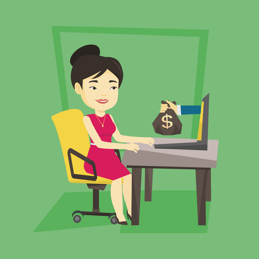 Asian business woman working in office and bag of money coming out of laptop. Businesswoman earning money from online business. Online business concept. Vector flat design illustration. Square layout.