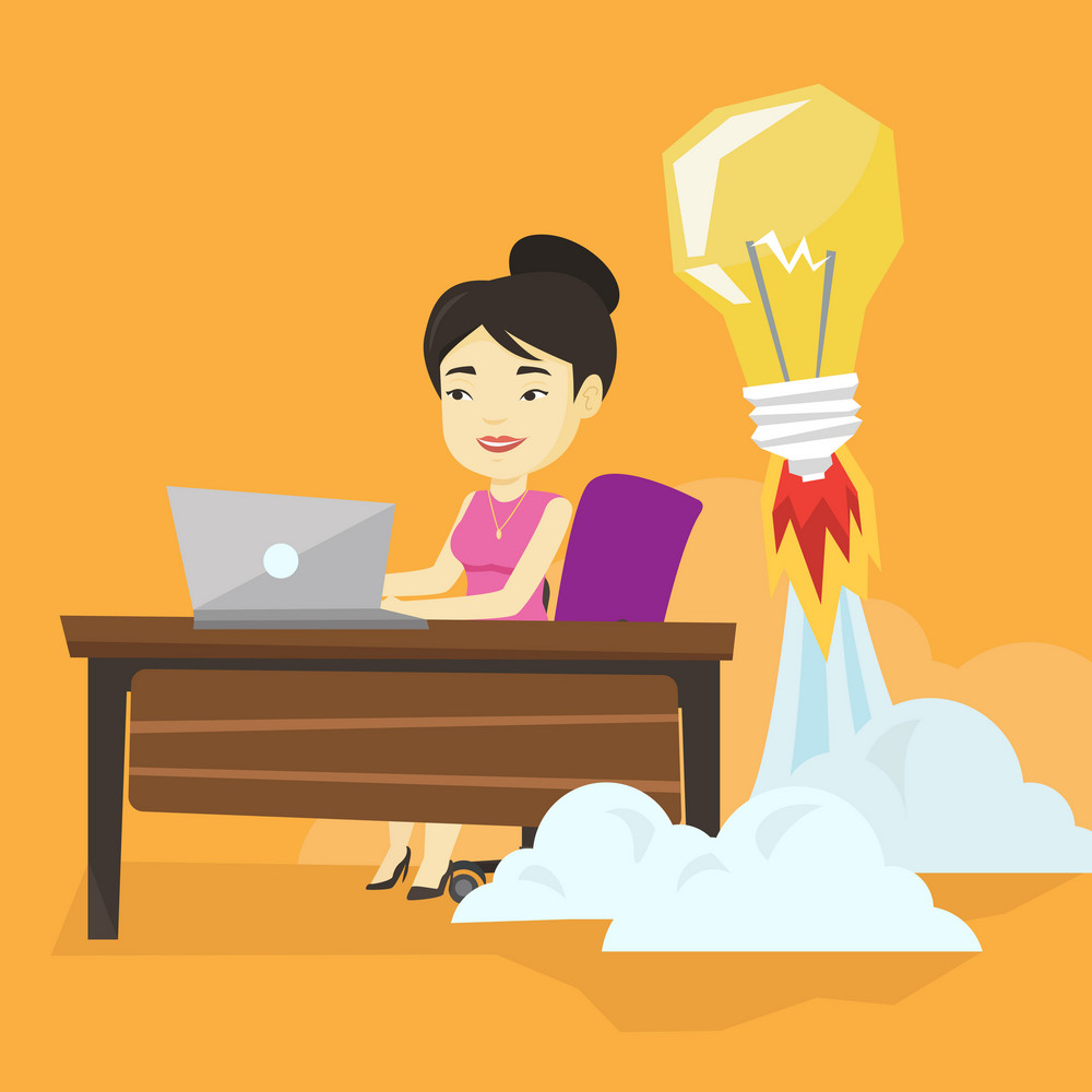 Asian business woman working on a laptop in office and idea bulb taking off behind her. Woman having business idea. Successful business idea concept. Vector flat design illustration. Square layout.