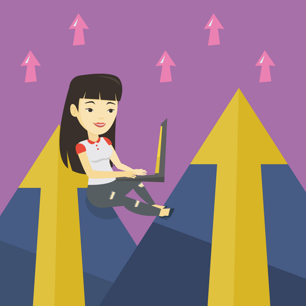 Asian business woman working on laptop on the mountain. Business woman sitting on the top of the mountain and using laptop. Business technology concept. Vector flat design illustration. Square layout.