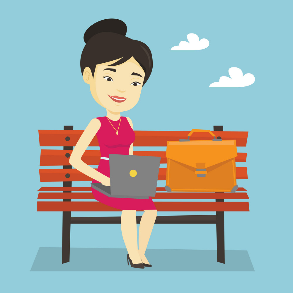 Asian business woman working outdoor. Happy business mwoman n working on a laptop outdoor. Young business woman sitting on bench and working on laptop. Vector flat design illustration. Square layout.