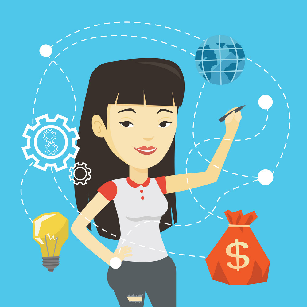 Asian business woman writing on a virtual screen. Cheerful businesswoman drawing a cloud computing diagram on a virtual screen. Cloud computing concept. Vector flat design illustration. Square layout.
