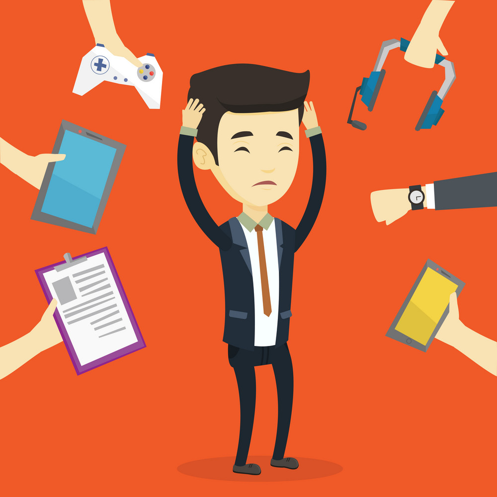 Asian businessman clutching head and many hands with gadgets around him. Young man in despair surrounded with gadgets. Man using many electronic gadgets. Vector flat design illustration. Square layout