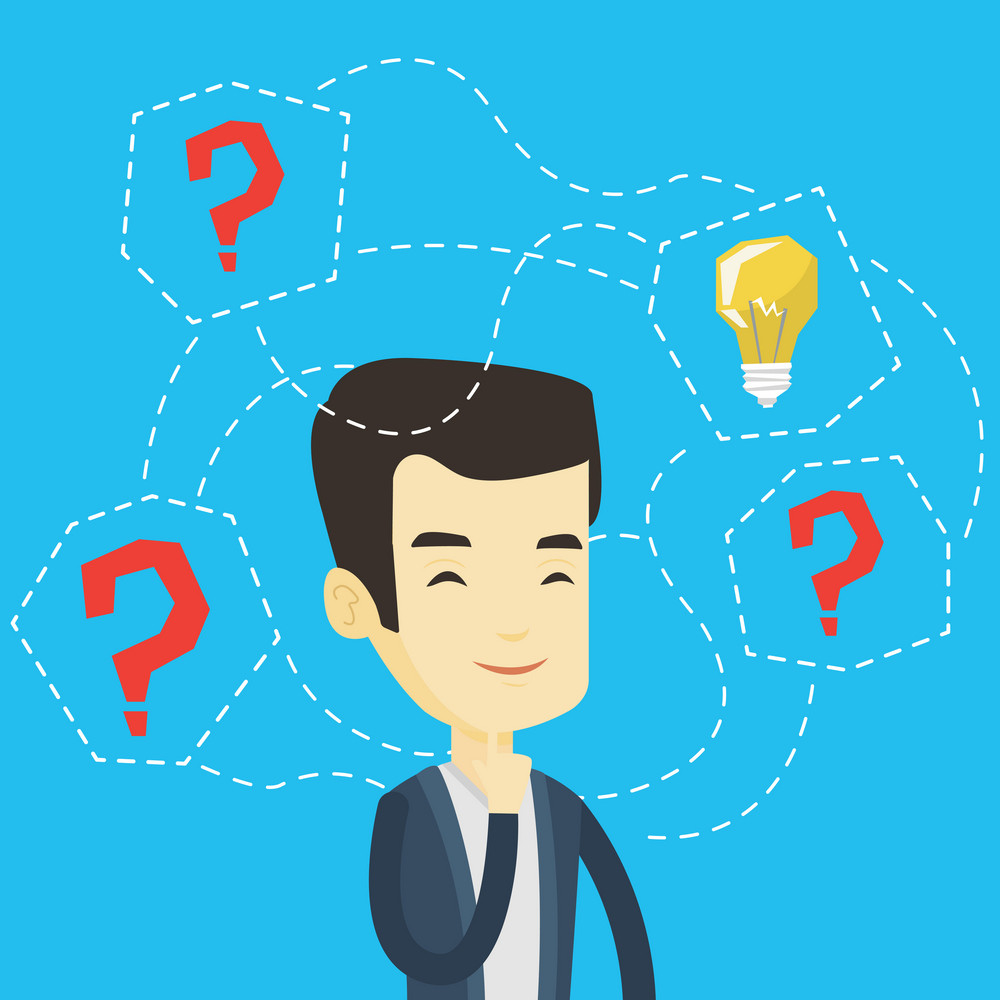 Asian businessman having creative idea. Business man standing with question marks and idea light bulb above his head. Successful business idea concept. Vector flat design illustration. Square layout.