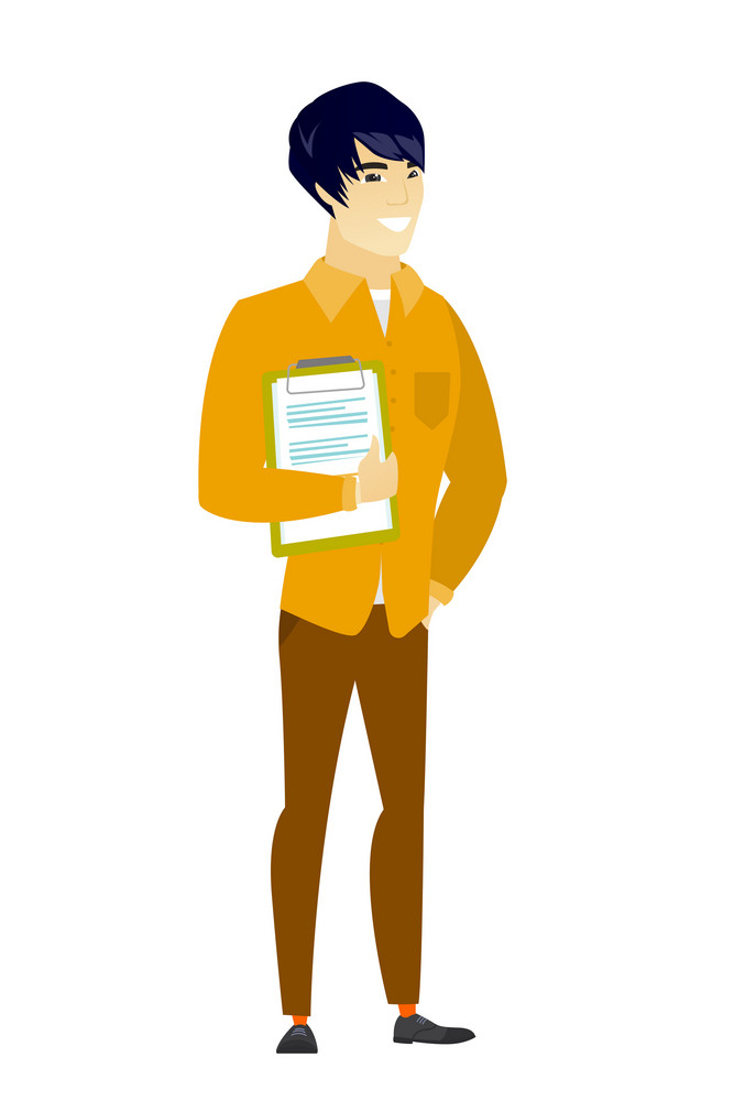 Asian  businessman holding clipboard with documents. Full length of young businessman with documents. Businessman holding documents. Vector flat design illustration isolated on white background.