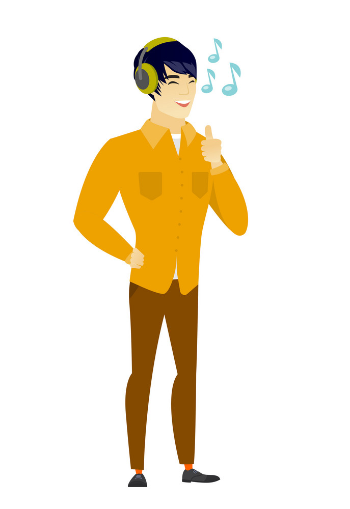 Asian  businessman listening to music in headphones. Full length of businessman with his eyes closed listening to music in headphones. Vector flat design illustration isolated on white background.