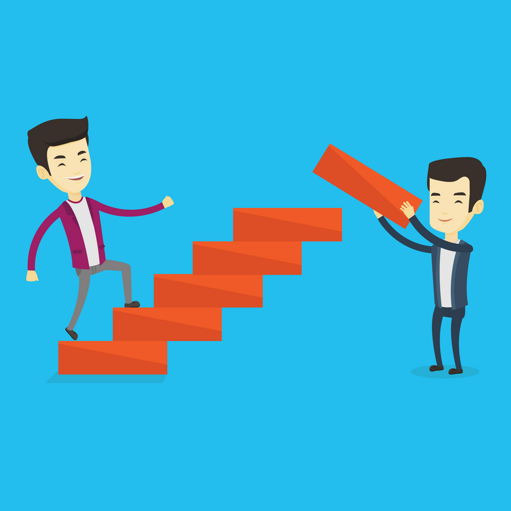 Asian businessman runs up the career ladder while another man builds this ladder. Businessman climbing the career ladder. Concept of business career. Vector flat design illustration. Square layout