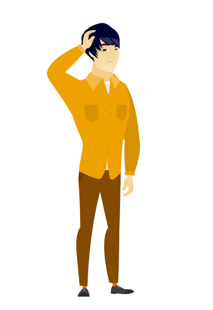 Asian  businessman scratching his head. Full length of thoughtful businessman scratching head. Puzzled businessman scratching his head. Vector flat design illustration isolated on white background.