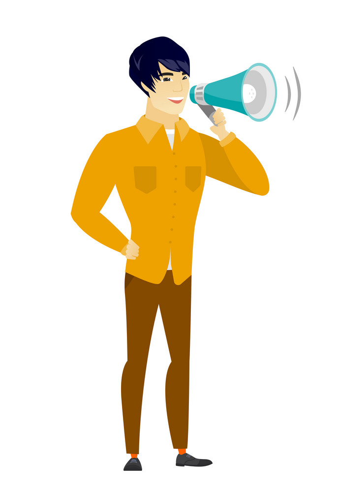 Asian  businessman with a loudspeaker making an announcement. Full length of businessman making an announcement through a loudspeaker. Vector flat design illustration isolated on white background.