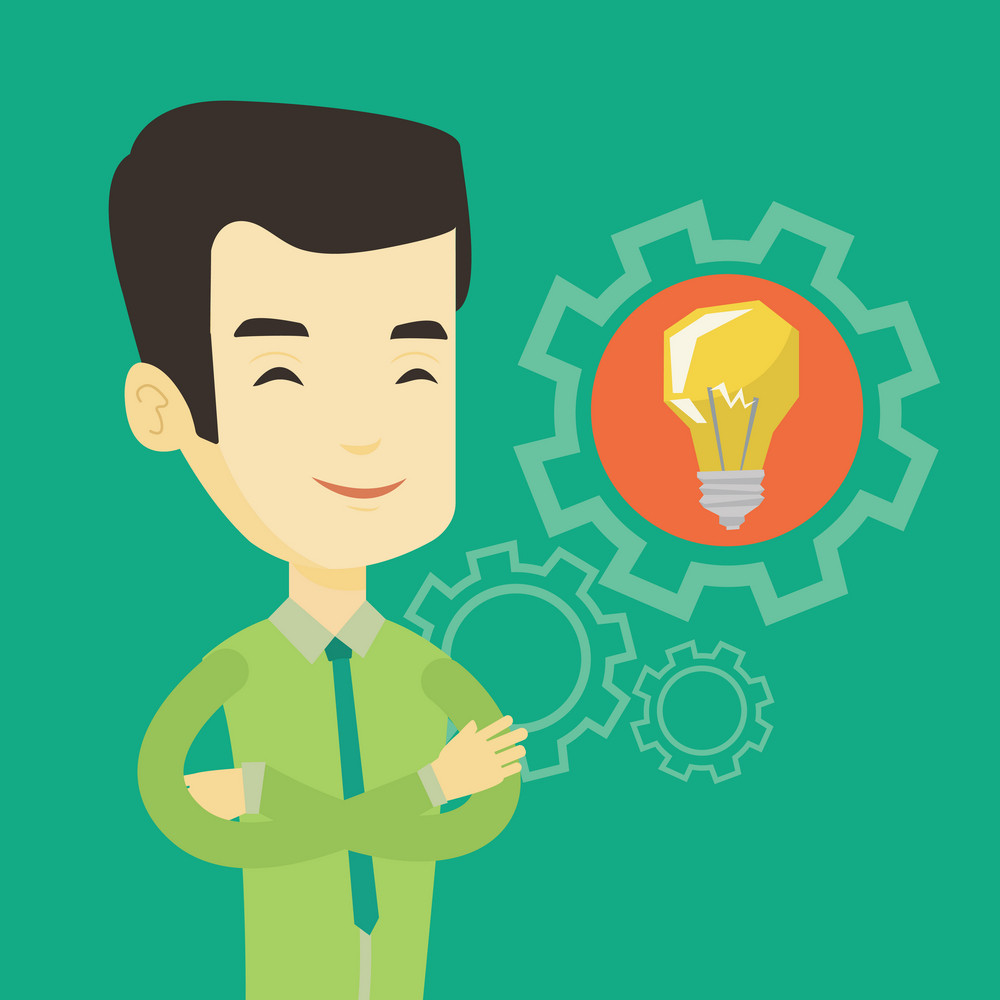 Asian businessman with business idea bulb in a cogwheel. Young smiling businessman having a creative business idea. Concept of successful business idea. Vector flat design illustration. Square layout.