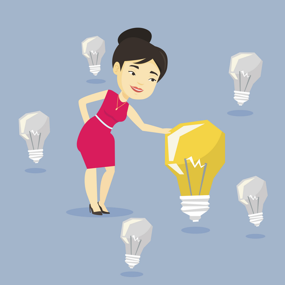 Asian businesswoman having great business idea. Young businesswoman standing among unlit idea light bulbs and looking at the brightest idea light bulb. Vector flat design illustration. Square layout.