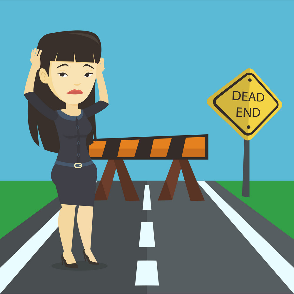 Asian businesswoman looking at road sign dead end symbolizing business obstacle. Businesswoman facing with business obstacle. Business obstacle concept. Vector flat design illustration. Square layout.