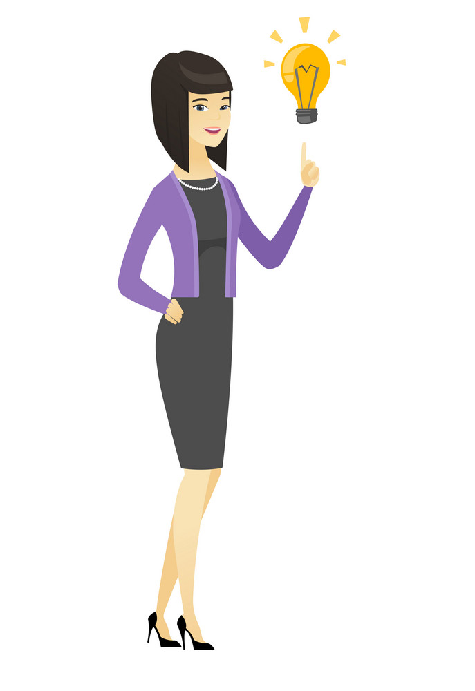 Asian businesswoman pointing at business idea light bulb. Full length of young businesswoman having business idea. Business idea concept. Vector flat design illustration isolated on white background.