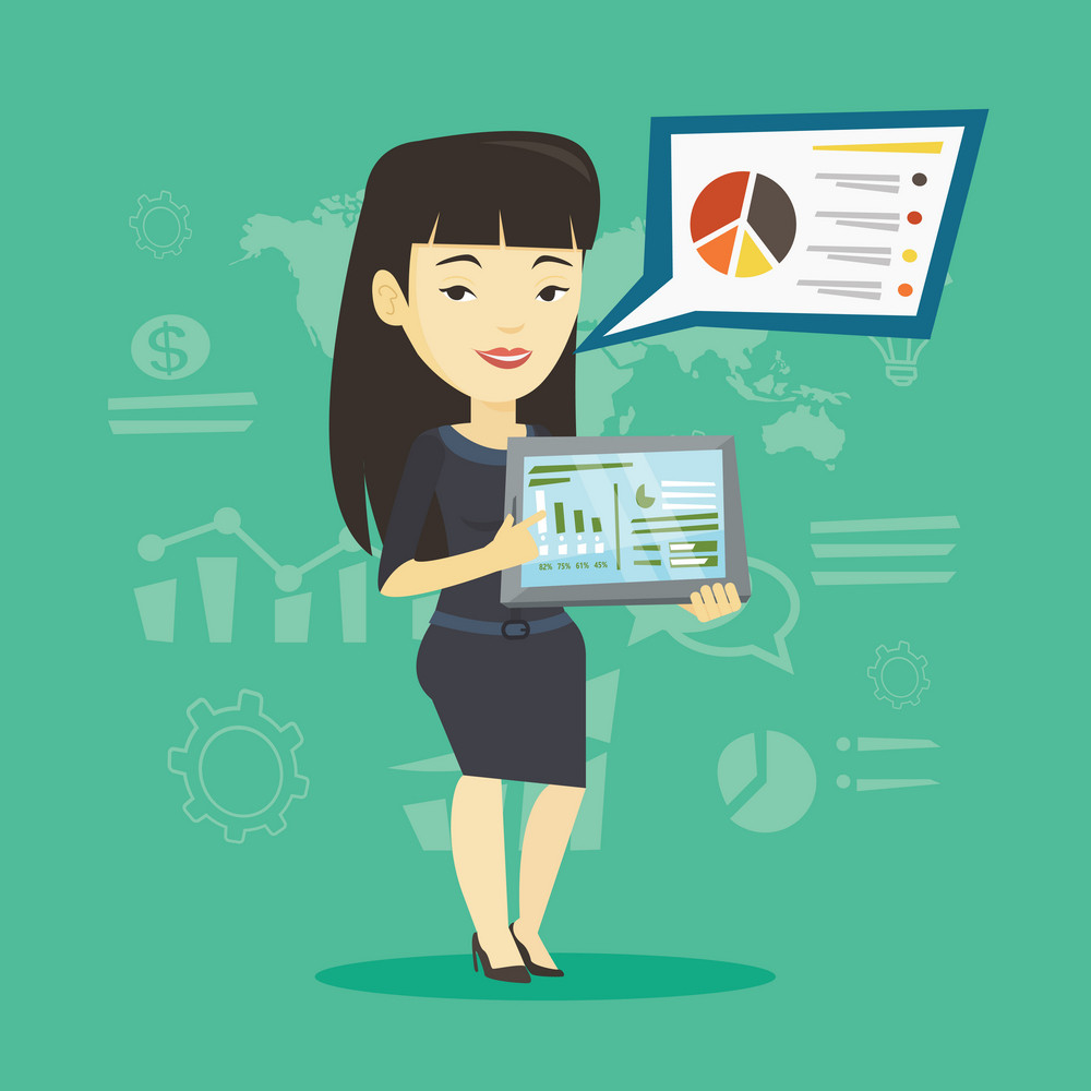 Asian businesswoman presenting report with a digital tablet on the background of graphs. Businesswoman pointing at the charts on tablet computer screen. Vector flat design illustration. Square layout.
