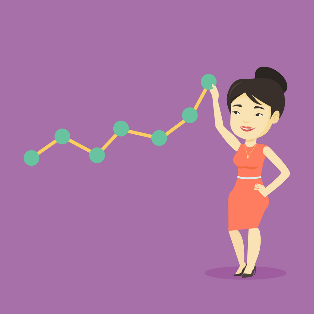 Asian businesswoman pulling up a business chart. Young smiling business woman looking at chart going up. Businesswoman lifting a business chart. Vector flat design illustration. Square layout.
