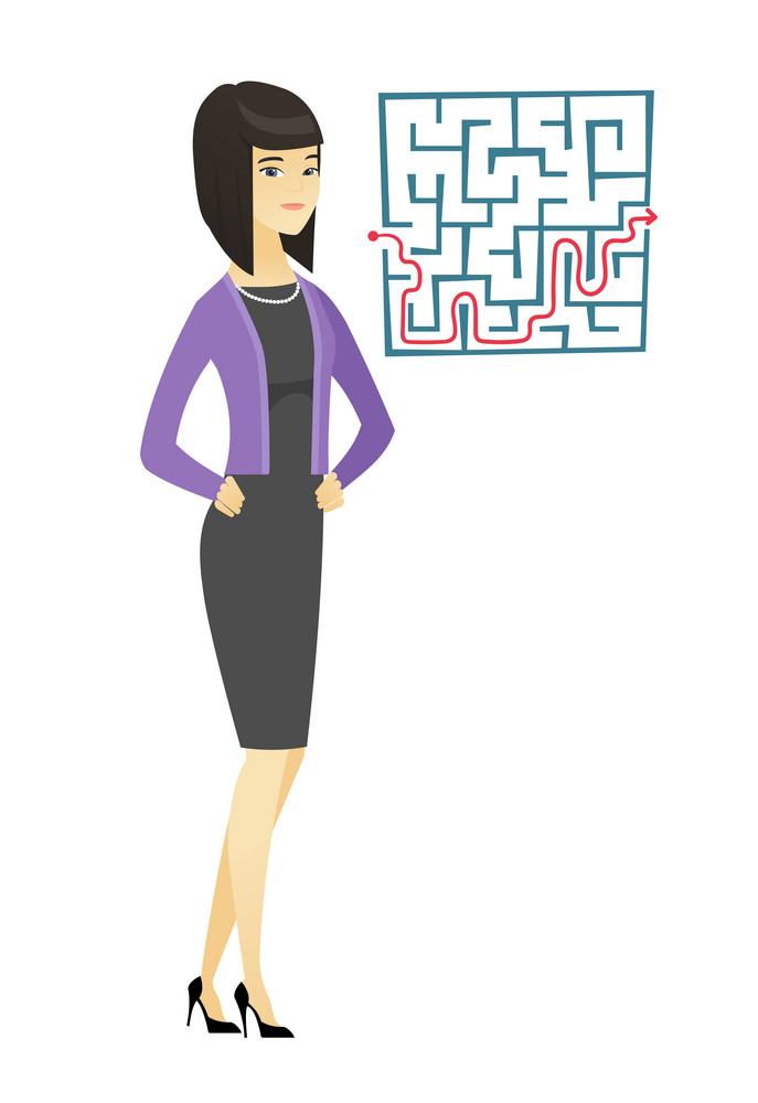 Asian businesswoman thinking about business solution. Young businesswoman looking at labyrinth with solution. Business solution concept. Vector flat design illustration isolated on white background.