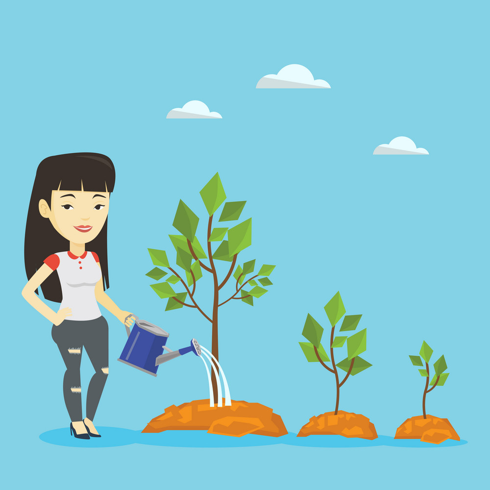 Asian businesswoman watering trees of three sizes. Young smiling businesswoman watering trees with watering can. Business growth and investment concept. Vector flat design illustration. Square layout.