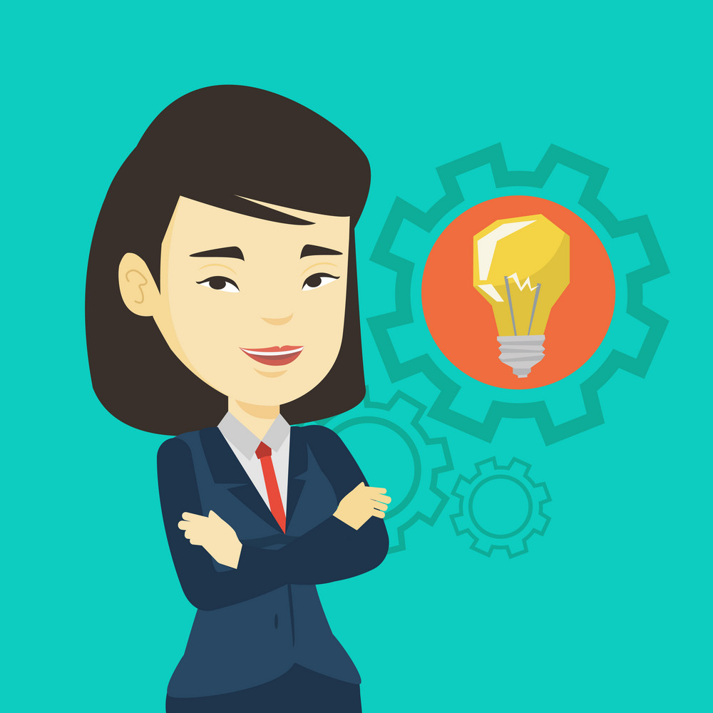 Asian businesswoman with business idea bulb in a cogwheel. Young smiling businesswoman having a business idea. Concept of successful business idea. Vector flat design illustration. Square layout.